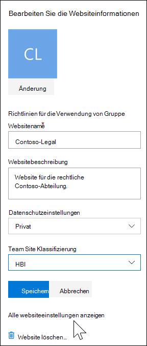 Anzeigen der Einstellungen für alle SharePoint-Website