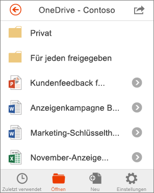 OneDrive-Dateien in Office Mobile