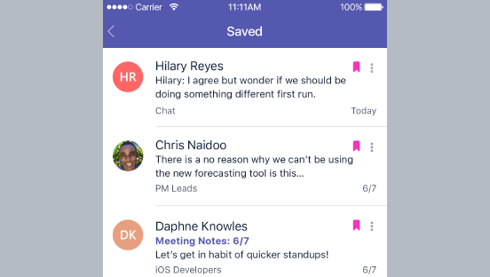 Dieser Screenshot zeigt gespeicherte Nachrichten.