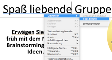 Unterstrichene Wörter in Blau; das Kontextmenü zeigt einen Grammatikvorschlag