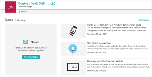 Startpunkt der Homepage