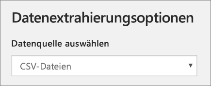 """Screenshot von """"Datenextrahierungsoptionen"""" während des Hinzufügens eines Profils in School Data Sync"""