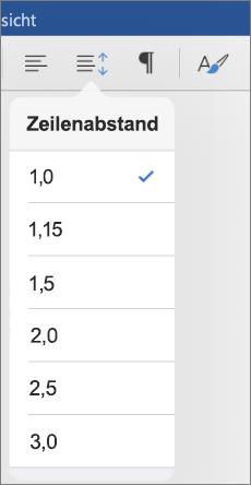 Zeigt die Zeilenabstandsoptionen in Word für iPad an.