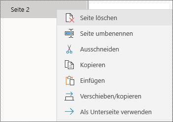 Entfernen einer Seite in der OneNote für Windows 10-App