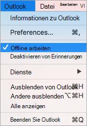 Zeigt die Option Offline arbeiten aktiviert im Outlook-Menü