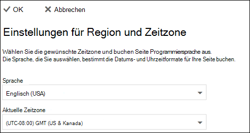 Screenshot: Wählen Sie Ihre Sprache und die aktuelle Zeitzone