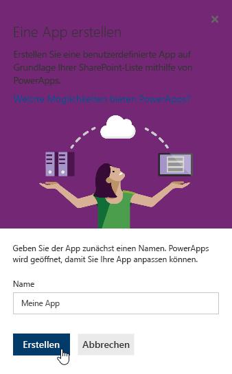 """Angeben eines Namens für die PowerApp und anschließendes Klicken auf """"Erstellen"""""""