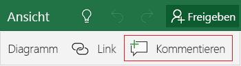 Hinzufügen eines Kommentars in Excel Mobile für Windows 10