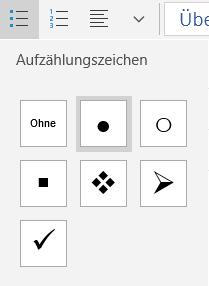 Optionen für Mail für Windows 10 Aufzählungen