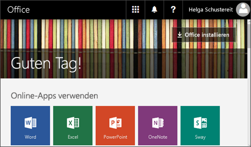 """Screenshot der Startseite mit der Schaltfläche """"Office installieren"""""""
