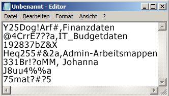 Kennwortliste in einer Datei in Editor
