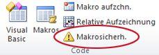 """Befehl """"Makrosicherh."""" auf der Registerkarte """"Entwicklertools"""""""