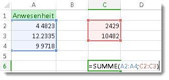 Verwenden der Funktion SUMME für zwei Zahlenbereiche
