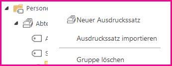 Im Terminologiespeicher-Tool können Sie Elemente im Navigationsbereich auswählen, um ein Menü zu öffnen