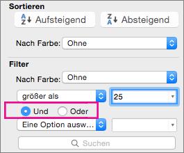 """Im Feld """"Filter"""" auf """"Und"""" oder """"Oder"""" klicken, um weitere Kriterien hinzuzufügen"""