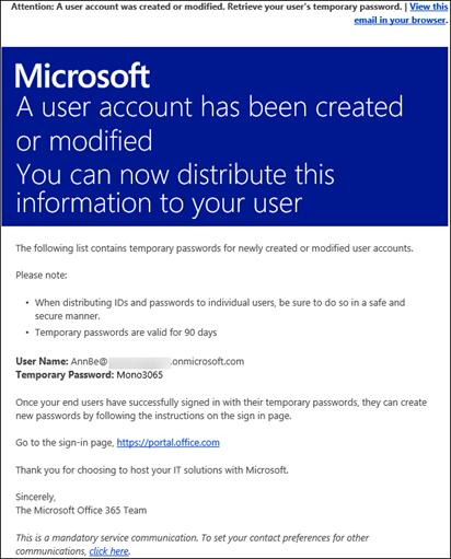 Eine Beispiel-E-Mail mit Informationen zum Office 365-Konto und zur Anmeldung