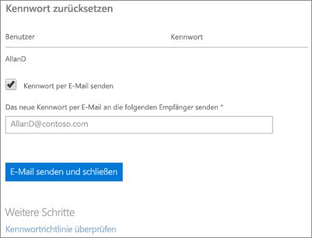 Screenshot: Zurücksetzen senden e-Mail-Benachrichtigung von Kennwort für Benutzer