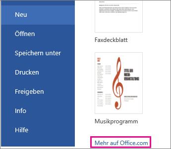 """Klicken Sie auf Office.com auf """"Weitere"""""""