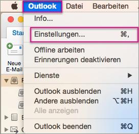 Outlook-Menü > Einstellungen