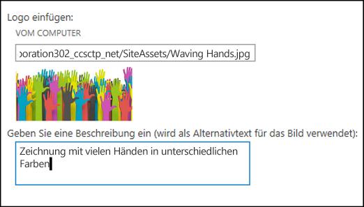 SharePoint Online-Dialogfeld 'Titel und Logo' ('Neue Website'), in dem angezeigt wird, wie Alternativtext für ein Logobild erstellt wird
