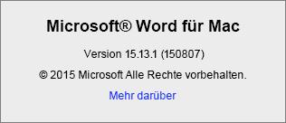 """Screenshot der Seite """"Info zu Word"""" in Word für Mac"""