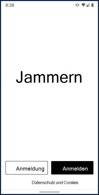 """Screenshot des Anmeldebildschirms für die Android-App """"jammern"""""""