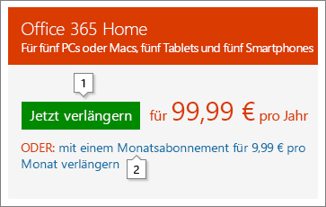 """Screenshot der Verlängerungsoptionen, die unter """"Office.com/renew"""" angezeigt werden Dies ist nur ein Beispiel; die Preise können geändert werden."""