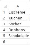 Liste der Werte zur Verwendung im Kombinationsfeld