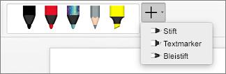 Stifte in Word für Mac
