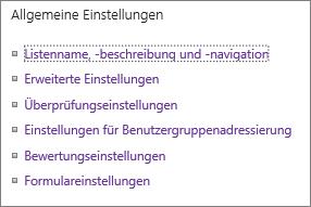 """Liste der Links für """"Allgemeine Einstellungen"""""""
