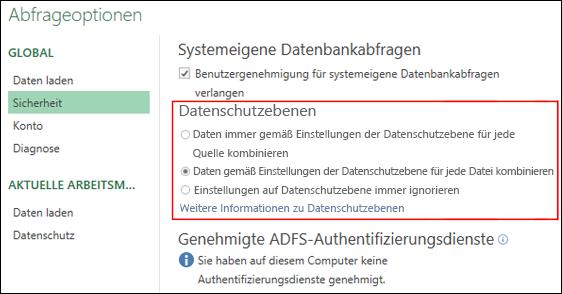 Power Query – Festlegen der Deaktivierung von Eingabeaufforderungen für Datenschutzebenen auf Computerebene (einschließlich Registrierungsschlüssel)