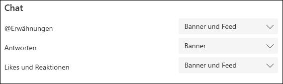 Option für Chatbenachrichtigungen auf dem Desktop
