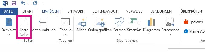 """Die Option """"Leere Seite"""" befindet sich auf der Registerkarte """"Einfügen""""."""