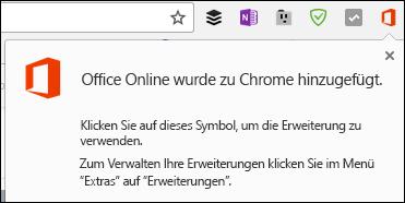 Chrome benachrichtigt Sie, dass die Office Online-Erweiterung erfolgreich hinzugefügt wurde
