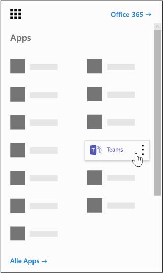 Office 365-App-Startfeld mit hervorgehobener Microsoft Teams-App
