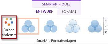 Option 'Farben ändern' in der Gruppe 'SmartArt-Formatvorlagen'