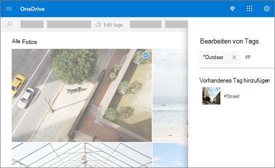 OneDrive, Tags bearbeiten.