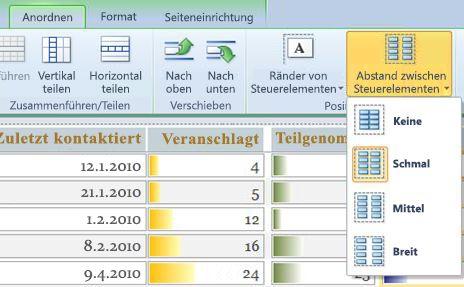 Verwenden der Option 'Textabstand', um Abstand zwischen Steuerelementen herzustellen