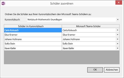 """Dialogfeld mit der Zuordnung von Kursnotizbüchern und Microsoft Teams-Studentennamen. Schaltflächen für """"OK"""" und """"Abbrechen""""."""