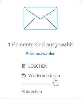 """Ein Screenshot zeigt die im Lesebereich ausgewählte Option """"Wiederherstellen""""."""