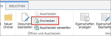 """Schaltfläche """"Einchecken"""" für Dokument samt QuickUnfo"""