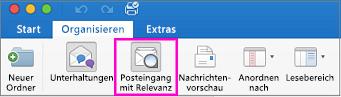 """Schaltfläche """"Posteingang mit Relevanz"""" auf der Registerkarte """"Organisieren"""" im Menüband"""