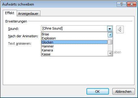 Klicken auf einen Sound in der Liste auf der Registerkarte 'Effekte'tab