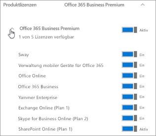 Erweitern Sie das Abonnement, um zu sehen, welche Office 365-Dienste in der Lizenz enthalten sind.