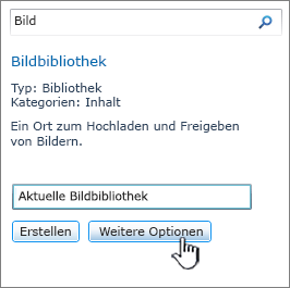 "Dialogfeld ""Bildbibliothek erstellen"", mit hervorgehobener Option ""Weitere Optionen"""
