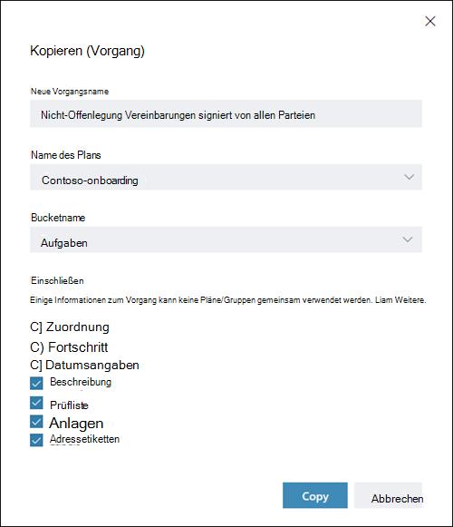 Bildschirm erfassen: Anzeigen des Dialogfelds Aufgabe kopieren. Zuordnungen, Status und Datumsangaben Elemente sind standardmäßig deaktiviert.