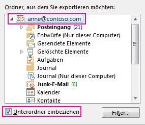 Dialogfeld 'Outlook-Datendatei exportieren' mit ausgewähltem Ordner der obersten Ebene und aktiviertem 'Unterordner einbeziehen'