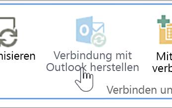 """Menüband mit hervorgehobener deaktivierter Schaltfläche """"Mit Outlook verbinden"""""""