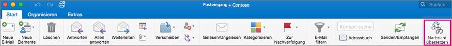 """Schaltfläche """"Übersetzen"""" im Outlook für Mac-Menüband"""