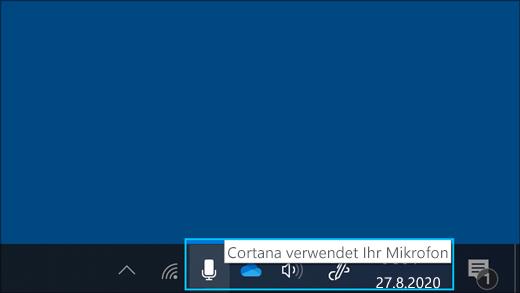 Screenshot des Mikrofonsymbols, wenn Cortana aktiviert ist.